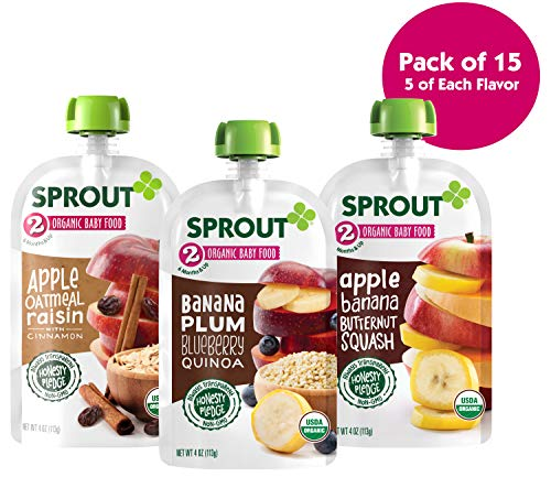 Sprout Organic Stage 2 Baby Food Pouches, Variety Pack, 4 Ounce (Pack of 15) 5 Each: Apple Oat Raisin w/ Cinnamon, Banana Plum Blueberry Quinoa & Apple Banana Butternut