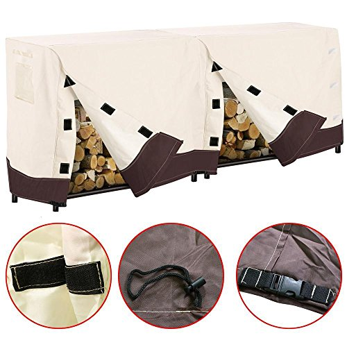 Topeakmart Heavy Duty Waterproof Log Rack Cover Firewood Wood Log Holder Protection, 8 Feet, Beige by Topeakmart