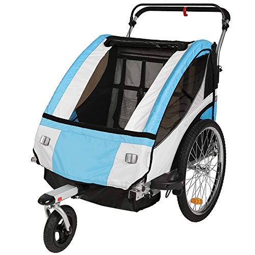 - Clevr Collapsible 3-in-1 Double Bicycle Trailer Baby Bike Jogger/Stroller Jogging Running Kids Cart Bike Trailer - Foldable for Storage