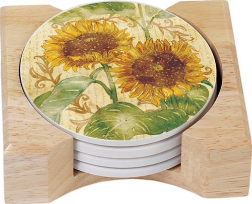 CounterArt Reflections Design Round Absorbent Coasters in Wooden Holder, Set of 4
