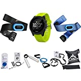 Garmin Forerunner 935 Sport Watch Tri Bundle (Black/Yellow) (010-01746-02) with 7-in-1 Total Resistance Fitness Kit + 7-Piece Fitness Kit