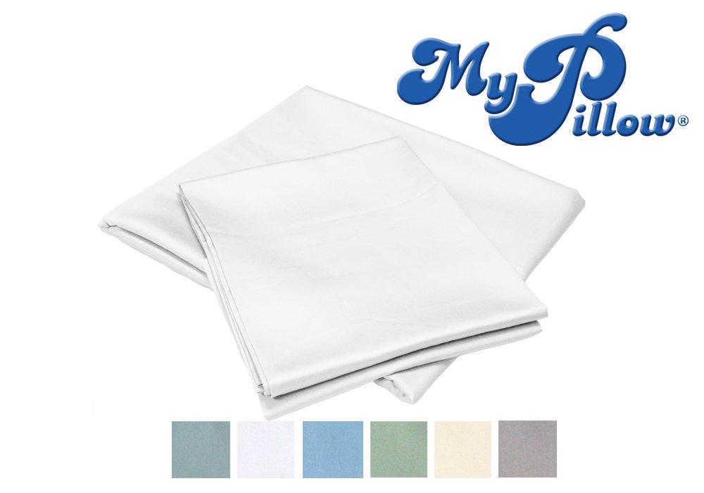 MyPillow 100% Egyptian Giza 88 Cotton Bed Sheet Set with Pillow Cases, Full, White