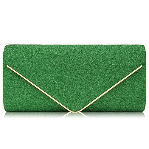 Milisente Women Clutches Glitter Sequins Evening Bag Elegant Envelope Shoulder Bag (Green)