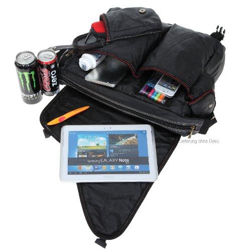 ELEPHANT Kuriertasche SAHARA Laptoptasche Canvas Tasche Notebookmaß 39x28 cm Schultertasche / OLIV Schwarz