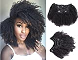 Ms Fenda Afro Kinky Curly 4B 4C Clip In Hair Extensions Brazilian Remy Virgin Hair Natural Color 120Gram 7Pcs/Set (16'', Afro Kinky Curly)