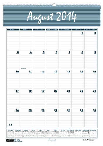 House of Doolittle HOD352-15 Harbor Wirebound Academic Monthly Wall Calendar, August 2014
