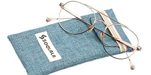 SOOLALA Vintage Oversized Round Thin Metal Frame Aviator Reading Glasses, Gun, - Presription Sunglasses