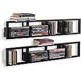 Wall Mount 34 Inch Media Storage Rack CD DVD Organizer Metal Floating Shelf Set of 2 Black
