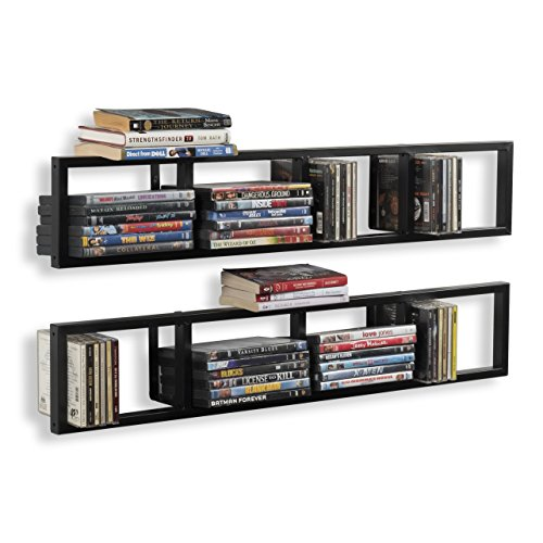 (Wall Mount 34 Inch Media Storage Rack CD DVD Organizer Metal Floating Shelf Set of 2 Black)