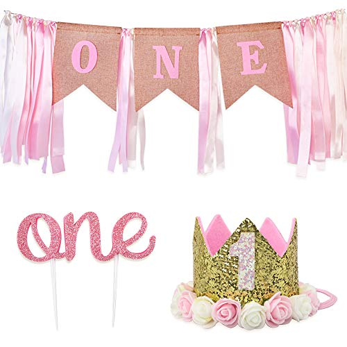 (RUBFAC Baby 1st Birthday Decoration for Girl, Number 1 Crown,
