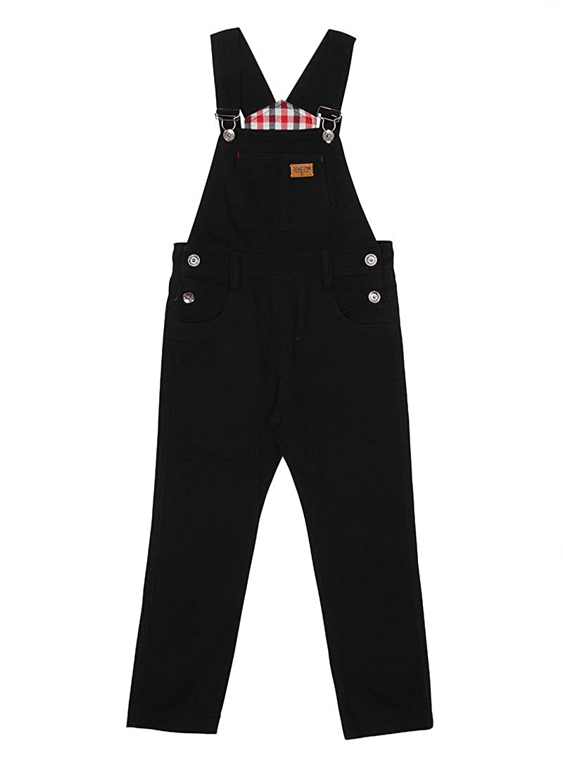 Genius Star Children's Black Dungarees Age 6-12 Boy Girl Slim Overalls Check Lining KID047BLACK