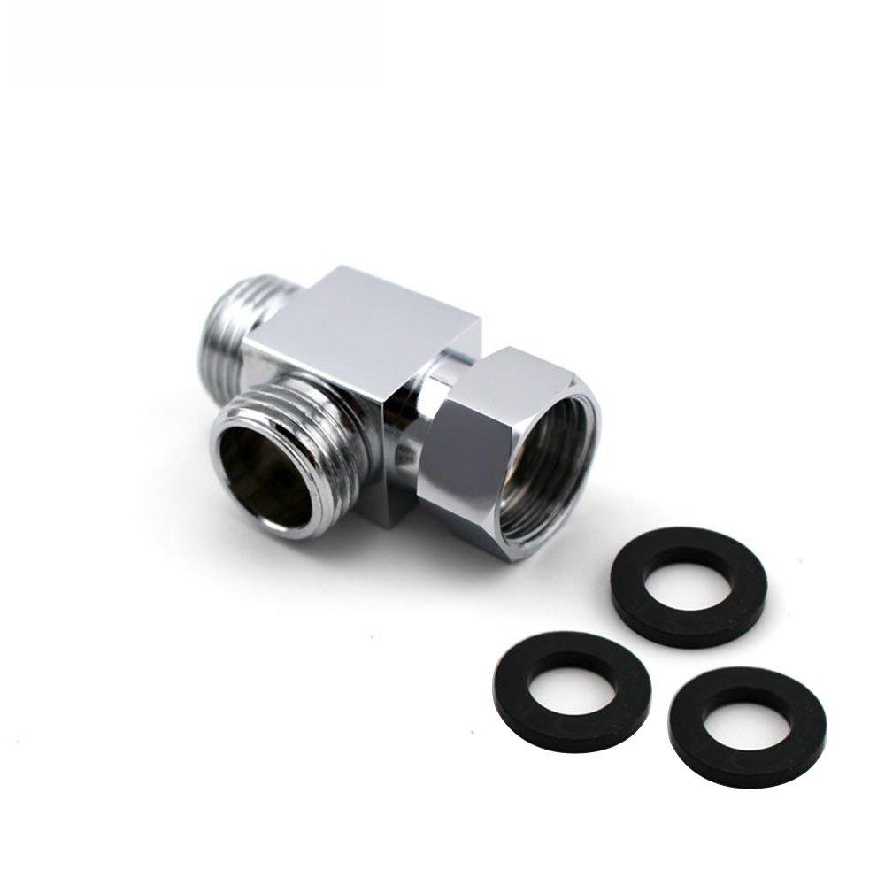 LumenTY - Conector para manguera de ducha de latón con 3 vías para válvula de ducha – Estándar G 1/2' de mano sistema de alcachofa de ducha de repuesto parte de control de flujo de ducha divisor T junta T adaptador –