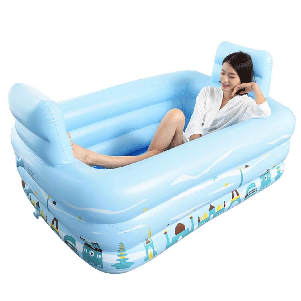 YONGYONG Household Inflatable Bathtub Adult Double Tub Reclining PVC Bath Barrel Folding Bath Tub 110cm*112cm*80cm, 160cm*124cm*85cm (Color : Blue, Size : 110cm*112cm*80cm)