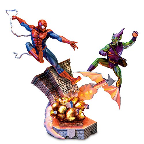 Goblin Green Weapons - MARVEL SPIDERMAN VS GREEN GOBLIN Battle Atop Brooklyn Sculpture Lights Up by The Bradford Exchange