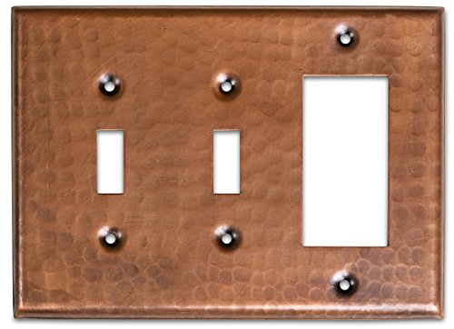 Monarch Pure Copper Hammered Double Switch/Single Rocker Wall Plate/Switch Plate by Monarch Abode