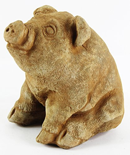 (Sitting Pig Garden Statues Cement Piggy Figurine Farm Pig Country Animal Figure)