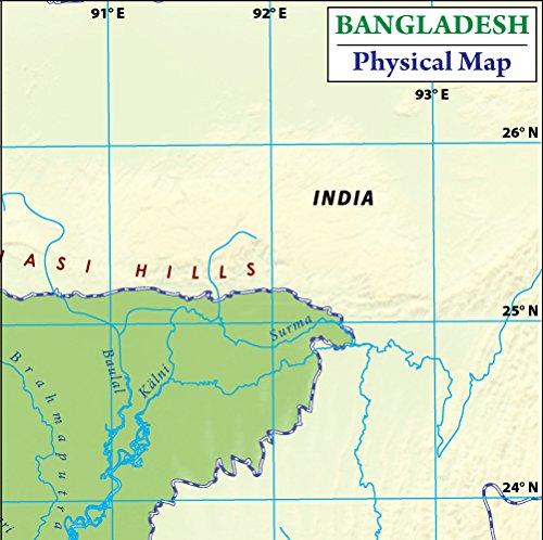 Amazoncom Bangladesh Physical Map Laminated 36 W x 3601 H