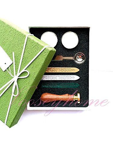 Vooseyhome The Tree of Life Wax Seal Stamp Gift Kit - Gold/Green/Silver Wax Sticks Tea Candle & Melting Spoon-Gift Set Collection (Green Wax Ribbon)