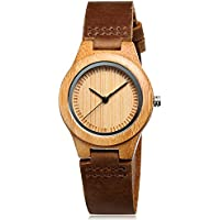 CUCOL Womens Wooden Bamboo Watches Brown Genuine Cowhide Leather Strap Wristwatch with Gift Box