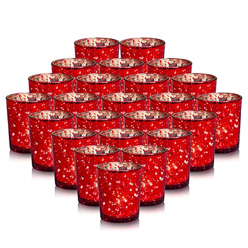Wholesale Votive Holders (24-Pack Mercury Votive Candle Holders Bulk, Speckled Red Mercury Candle Holders Perfect Decor for Home, Wedding, Prom, Party - 2.67