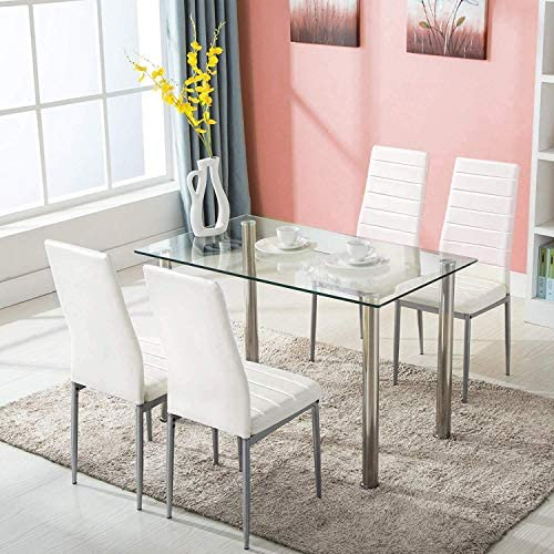 picture of JOYBASE 5 Piece Dining Table Set, Tempered Glass Top Table