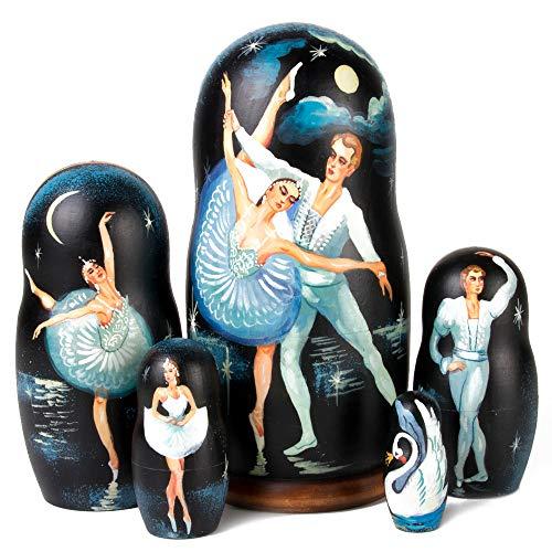Hand-Painted Matryoshka 5pcs Ballet Wooden Russian Nesting Dolls Gift Matreshka Handmade Babushka Doll