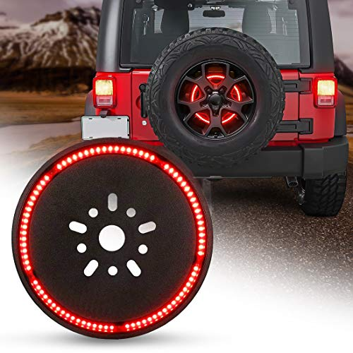 Spare Tire Brake Light Wheel Light 3rd Third Brake Light for Jeep Wrangler 2007-2017 JK JKU YJ TJ,Red Light