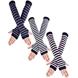 Jetec 3 Pairs Long Fingerless Gloves Arm Warmer Knit Winter Mitten Gloves Elbow Length Stripe Gloves with Thumb Hole, 3 Colors