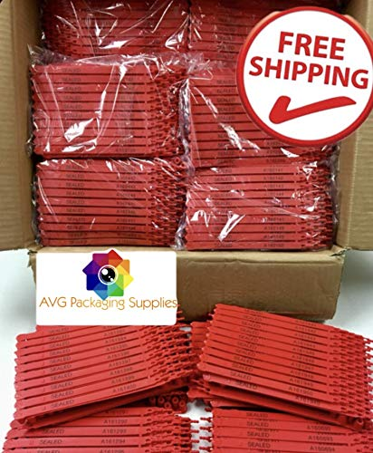 (AVG Packaging Supplies 1,000 Red Plastic Seals Security Numbered - Trucker or Trailer for Standard containers Truck - Vans - Doors - Airline - Duty-Free Shops - Storage-Controlling)