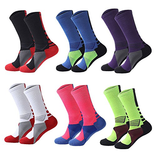 Lohascasa Men's Colorful Dri Fit Mid Calf Hiking Running Cushion Athletic Elite Youth Basketball Crew Socks for Big Boys and Girls (6 Pack)
