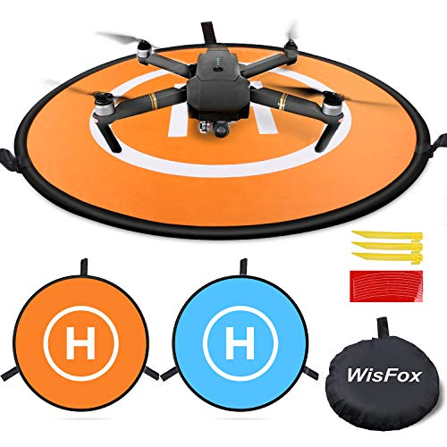 """Drone Landing Pad, WisFox Universal Waterproof D 75cm/30"""" Portable Foldable Landing Pads for RC Drones Helicopter, PVB…"""