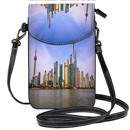 (Custom Trendy Shoulder Crossbody Bag Pudong Financial District Skyline Shanghai China Multifunction Travel Crossbody Purse Wallet)