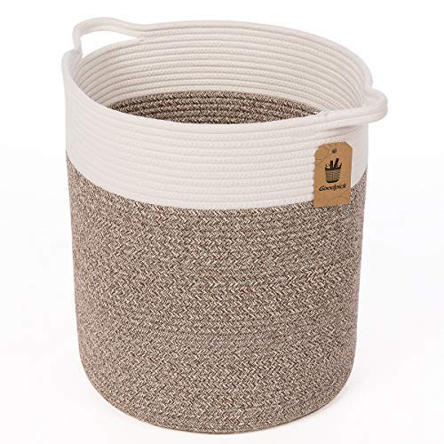 Goodpick Medium Cotton Rope Basket - Woven Basket - Baby Laundry Basket - Blanket Basket - Toy Storage Magzines Containers Bin for Living Room Floor Nursery 15