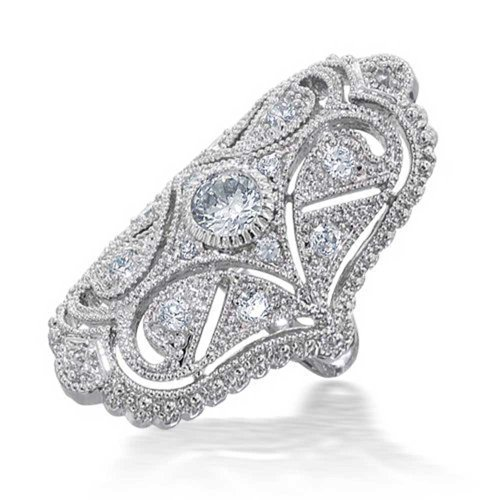 - Bling Jewelry Deco Antique Style Filigree Pave CZ Wide Armor Full Finger Fashion Statement Ring Cubic Zirconia Rhodium Plated Brass
