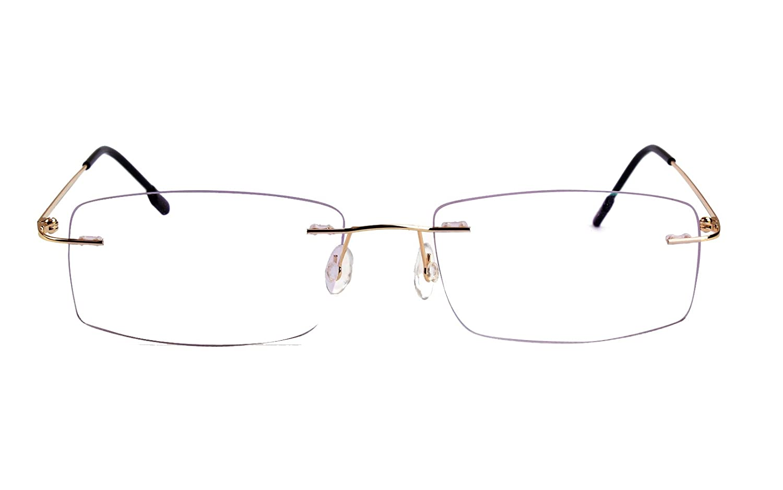 a7136bef5a Agstum Titanium Alloy Flexible Rimless Hinged Frame Prescription Eyeglasses  Rx (Gold