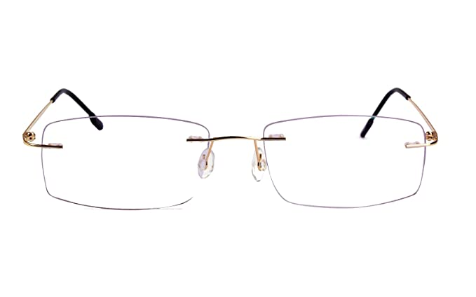 664a7c0f347 Agstum Titanium Alloy Flexible Rimless Hinged Frame Prescription Eyeglasses  Rx (Gold