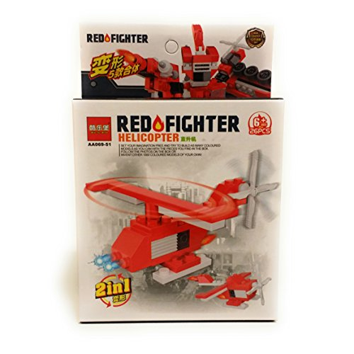 Firefighter & Police 911 Vehicle Helicopter 2-in-1 26 pc Building Block Set, Red