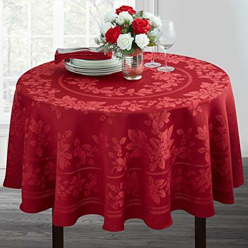 Holiday Elegance Engineered Jacquard Christmas Tablecloth (RED, 70