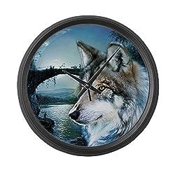 CafePress - Romantic Moonlight Wild Wolf - Large 17 Round Wall Clock, Unique Decorative Clock