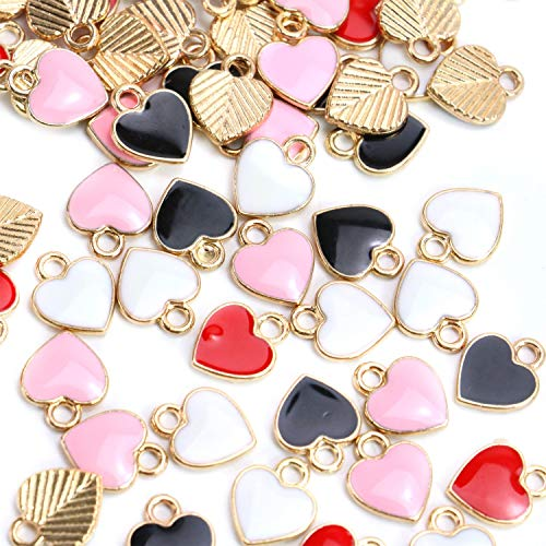 (Monrocco 80 pcs Heart Enamel Alloy Pendants for Making Bracelet Necklaces for)