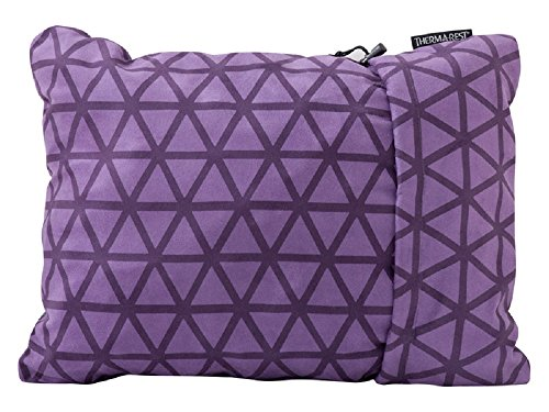 Therm-a-Rest Compressible Travel Pillow for Camping, Backpacking, Airplanes and Road Trips, Amethyst, Small - 12 x 16 Inches