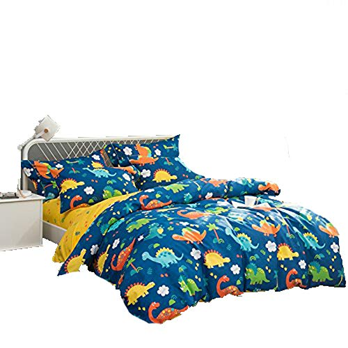 KFZ Cotton Bed Set Bedding Set Cotton Duvet Cover Fitted Sheet Pillow Covers Twin Queen King Sheets Set CJF No Comforter Dinosaur Pineapple Bohemian Design (Dinosaur Garden, Blue, Twin 59