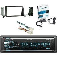Kenwood Single Din CD/AM/FM Car Audio Receiver with Built-In Bluetooth SiriusXM Satellite Radio Vehicle Tuner Kit, Metra Radio Wiring Harness For Toyota 87-Up Power 4Speaker & Metra Installation Kit