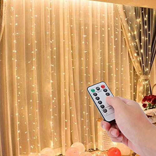 Fairy Lights Curtain for Bedroom Party Room Decor 300 LED Voice Activated Curtain Lights 9.8x9.8ft, No Curtain, with Remote Multicolor Light Curtain E-POWIND USB Powered Curtain String Lights