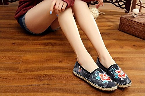 Lazutom Lady Women Vintage Chinese style Embroidery Casual Walking Loafer Shoes Black T8DkOKl
