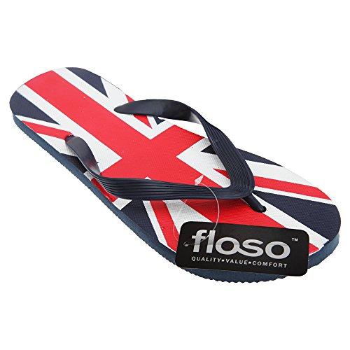 Floso Heren Union Jack Ontwerp Groot-brittannië Zomer Wear Slippers (uk 12-13, Eur 45-47) (marine / Grijs)