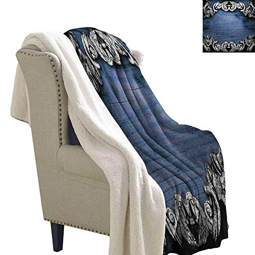 Sunnyhome Victorian Blanket Small Quilt 60x47 Inch Iron Ornament on Wooden Great Britain Gothic Revival Artwork Peace Print Blanket Silver Dark Blue