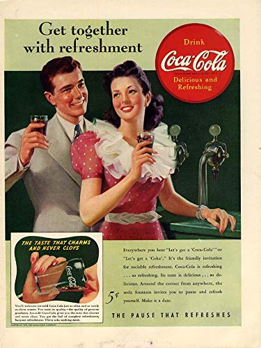 Get together with refreshment Coca-Cola ad 1941 soda fountain L