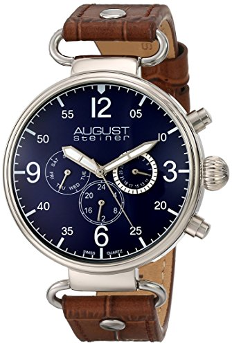 Amazon.com: August Steiner Mens AS8131BU Silver Multifunction Swiss Quartz Watch with Blue Dial and Brown Leather Strap: Watches
