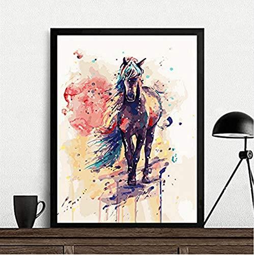 Watercolour Horse Canvas Painting Poster Modern Wall Art Home Decor Unframed Vinyl Wall Sticker PVC (Unframed Vinyl)
